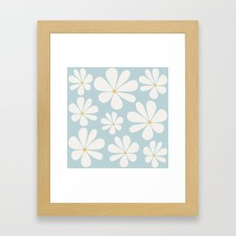 Floral Daisy Pattern - Blue Framed Art Print