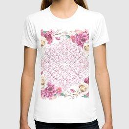 Mandala Rose Garden Pink on White T-shirt