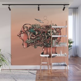 Head Scream Doodle Wall Mural