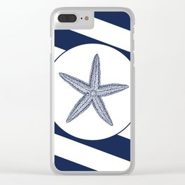 Nautical Starfish Navy Blue & White Stripes Beach Clear iPhone Case