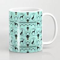 greyhound Mugs featuring Deco Greyhound by naturessol