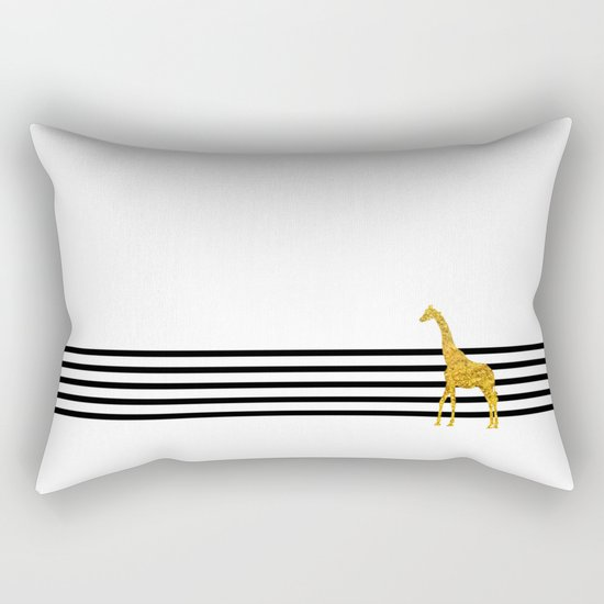 Gold Giraffe Rectangular Pillow