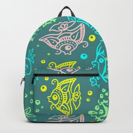 Fishes Batik Style Seamless Pattern Backpack