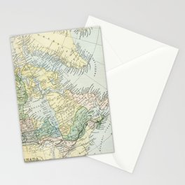 Vintage Map of The East Of Canada Stationery Cards