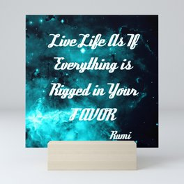 Rigged in Your Favor Rumi Quote Teal Galaxy Mini Art Print