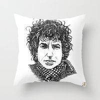 bob dylan Throw Pillows featuring Bob Dylan by The Curly Whirl Girly.