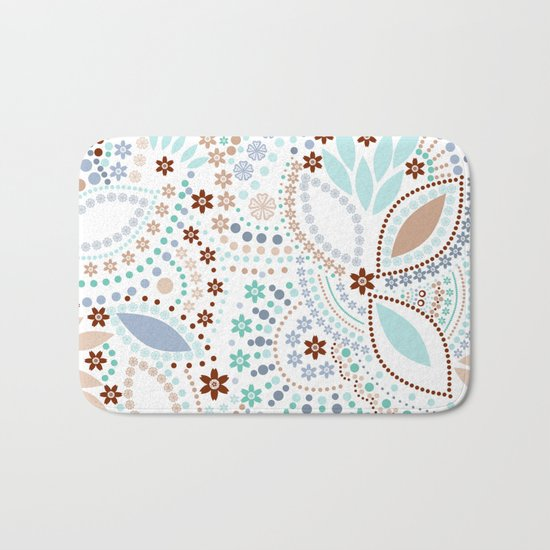 Colorful pattern light pastel colors with beads Bath Mat