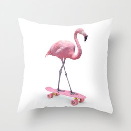 SKATE FLAMINGO ON WHITE Throw Pillow