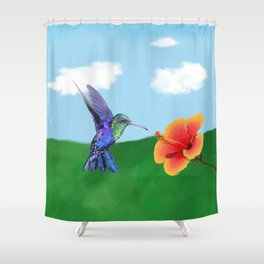 The very hungry hummingbird Shower Curtain