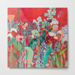 Red floral Jungle Garden Botanical featuring Proteas, Reeds, Eucalyptus, Ferns and Birds of Paradise Metal Print