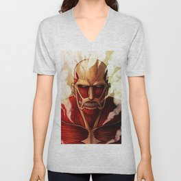 Colossal titan artwork Unisex V-Neck