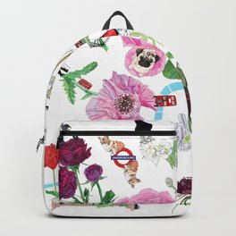 London in Bloom - Flowers and transportation that make London Backpack