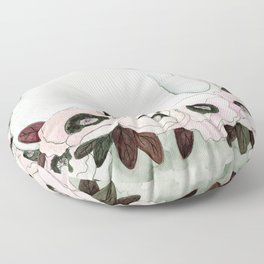 White Rabbit, Pink Poppies Floor Pillow