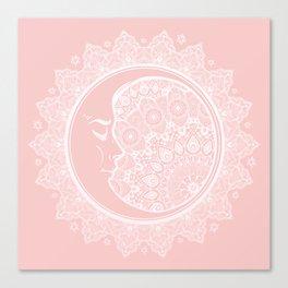 Mandala Moon Pink Canvas Print