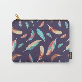 Colorful Feathers Repeating Pattern Carry-All Pouch