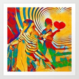 7586s-MM Red Shadow Heart Catch Cherish Set Free Abstract Romantic Love Art Print
