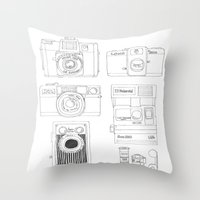cameras Throw Pillows featuring cameras by steffaloo
