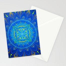 Blue mandala painting on canvas Stationery Cards