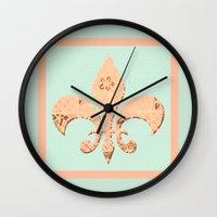 fleur de lis Wall Clocks featuring Fleur de Lis by Artistic Home Decor
