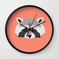 raccoon Wall Clocks featuring Raccoon by Alysha Dawn