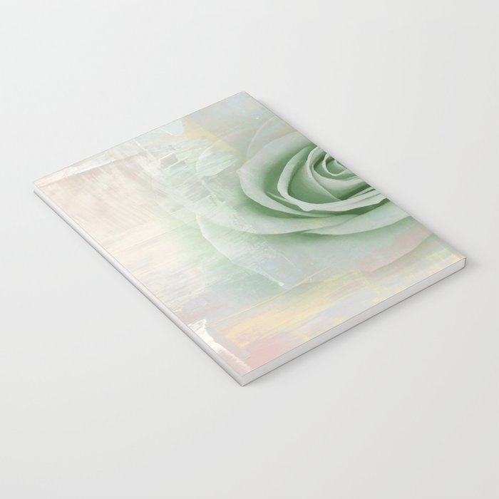 Elegant Painterly Mint Green Rose Abstract Notebook