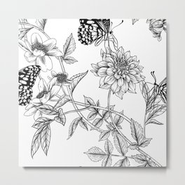 minimal flowers and butterflies Metal Print