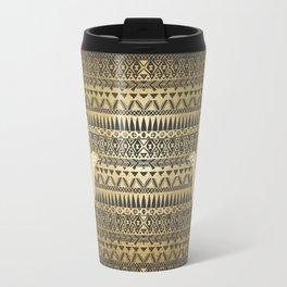 Faux Print Gold Hamsa Hand and Tribal Aztec Travel Mug