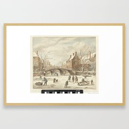 IJspret op de hoek van Spui en Nieuwezijds Voorburgwal, Anthonie van den Bos, Jan van Kessel (1641-1 Framed Art Print