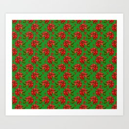 Red Poinsettia Plaid Art Print