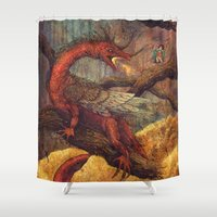 smaug Shower Curtains featuring Dragons Lair by Angela Rizza