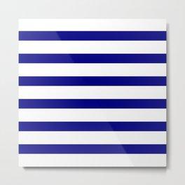 Blue Navy and White Stripes Metal Print