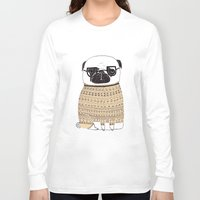 pug Long Sleeve T-shirts featuring Pug  by Phillippa Lola