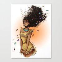 pocahontas Canvas Prints featuring Pocahontas by C. Cassandra
