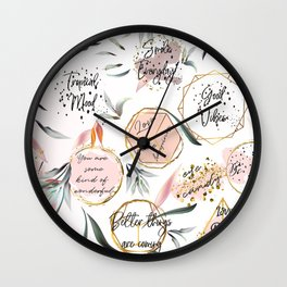 Tropical mood. Quotes and palm leaves Wall Clock