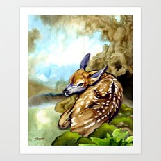 Fawn Parked in the Trees Art Print