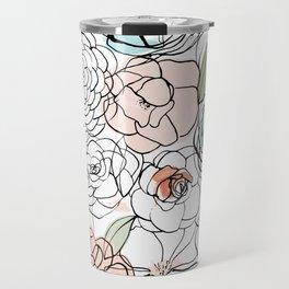 Inky Camellias Travel Mug