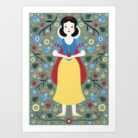 snow white Art Prints featuring Snow White  by Carly Watts