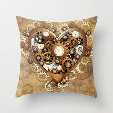 Steampunk Heart Love Throw Pillow