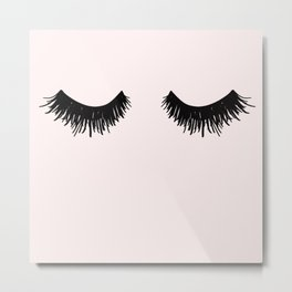 Eyelashes on Pink Lashes Art Metal Print