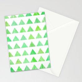evergreen geometric pattern Stationery Cards