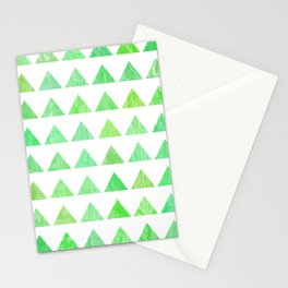 evergreen geometric pattern Stationery Cards