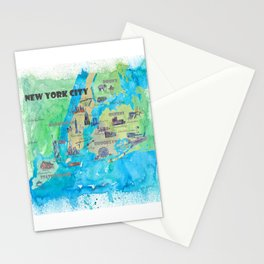 New York City Favorite Travel Map with Touristic Highlights Stationery Cards