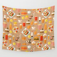 hamburger Wall Tapestries featuring Fast food by Valendji