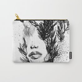 BLACK N WHITE WOMEN ABSTRACT FACE-LOVE Carry-All Pouch