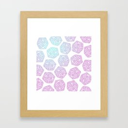d20 pattern dice gradient pastel Framed Art Print