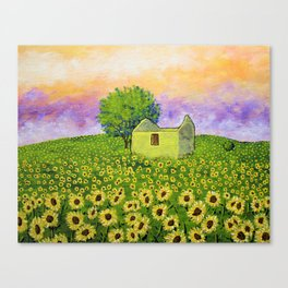 Sunflowers In Provence France by Mike Kraus - farm french ruins house home tree sunset sunrise trees Canvas Print
