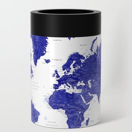 """Navy blue watercolor world map with cities, """"Ronnie"""" Can Cooler"""