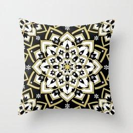 'Immortal Spirit' Mandala Black Gold White Throw Pillow