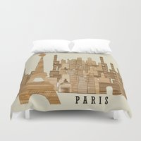 marley Duvet Covers featuring Paris city vintage by bri.b