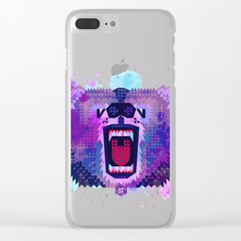 Lilac Geometric Bear Clear iPhone Case